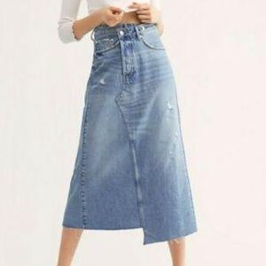 Free People We the Free Reworked Denim Midi Skirt